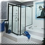 Black 793 with Buttress Glass Shower Door